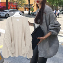 Casual Style Long Sleeves Plain Medium Oversized Cardigans
