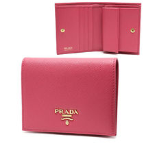 PRADA Plain Leather Folding Wallet Folding Wallets