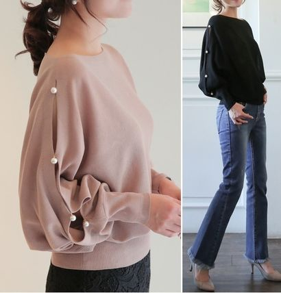 Boat Neck Puff Sleeves Sweaters
