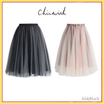 Chicwish Flared Skirts Casual Style Nylon Plain Medium Midi Skirts