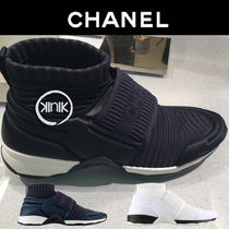CHANEL Casual Style Blended Fabrics Plain Low-Top Sneakers