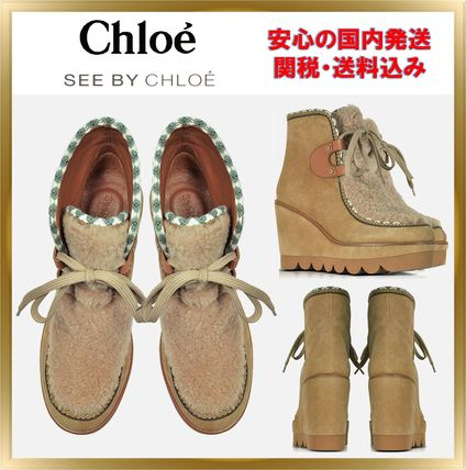 Mountain Boots Suede Plain Elegant Style Outdoor Boots
