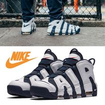 Nike AIR MORE UPTEMPO Faux Fur Plain Sneakers