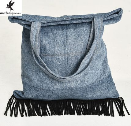 Casual Style A4 Plain Fringes Totes