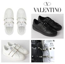 VALENTINO Studded Plain Leather Low-Top Sneakers
