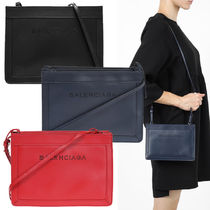 BALENCIAGA NAVY Black Leather Navy Pochette Shoulder Bag