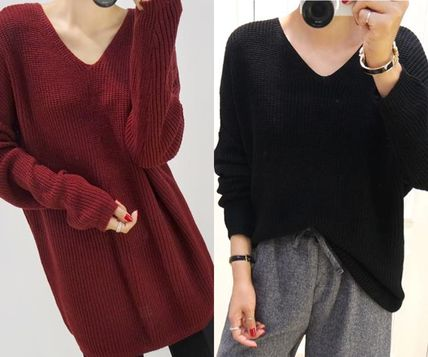 Casual Style Rib V-Neck Long Sleeves Plain Long Oversized