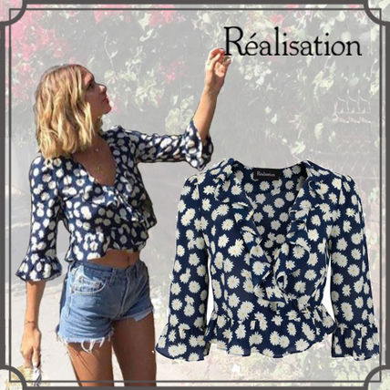 Short Flower Patterns Silk Cropped Elegant Style Cropped