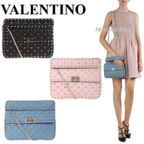 VALENTINO Lambskin 2WAY Chain Plain Elegant Style Shoulder Bags