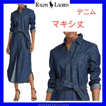 Ralph Lauren Casual Style Denim Street Style Long Sleeves Plain Long