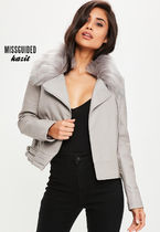 Missguided Casual Style Faux Fur Blended Fabrics Biker Jackets