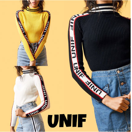 UNIF Clothing Casual Style Rib Street Style Long Sleeves Plain Cotton
