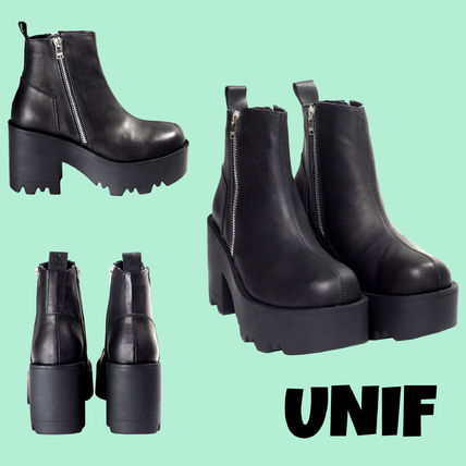 UNIF Clothing Casual Style Plain Chunky Heels Ankle & Booties Boots