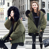 Casual Style Faux Fur Plain Medium Oversized Parkas