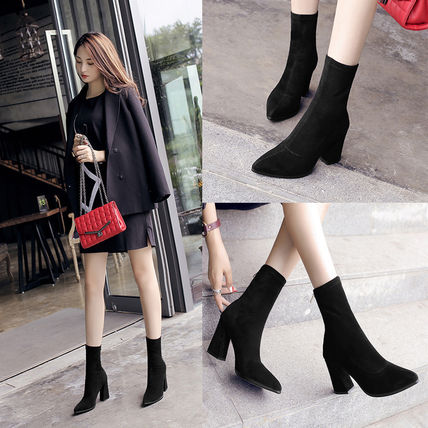 Casual Style Velvet Plain Block Heels Ankle & Booties Boots