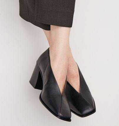 COS Square Toe Plain Leather Elegant Style Chunky Heels