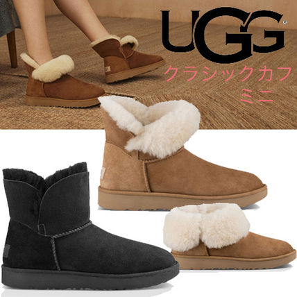 UGG Australia Ankle & Booties Round Toe Rubber Sole Casual Style Sheepskin Plain