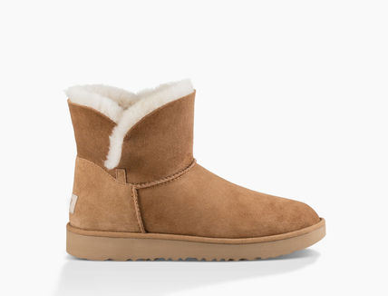 UGG Australia Ankle & Booties Round Toe Rubber Sole Casual Style Sheepskin Plain 12