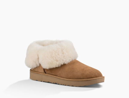 UGG Australia Ankle & Booties Round Toe Rubber Sole Casual Style Sheepskin Plain 13