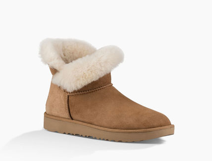 UGG Australia Ankle & Booties Round Toe Rubber Sole Casual Style Sheepskin Plain 14