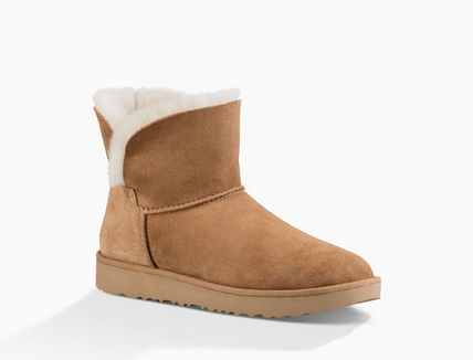 UGG Australia Ankle & Booties Round Toe Rubber Sole Casual Style Sheepskin Plain 15