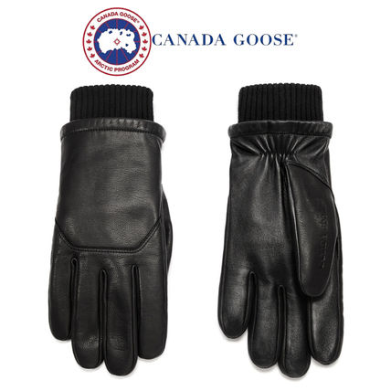CANADA GOOSE Blended Fabrics Plain Leather Leather & Faux Leather Gloves