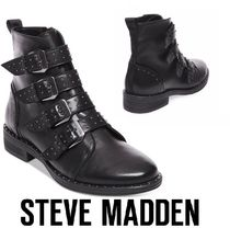 Steve Madden Casual Style Street Style Leather Block Heels Flat Boots