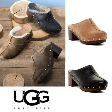 UGG Australia Plain Toe Casual Style Plain Leather Block Heels Sabo