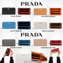 PRADA Calfskin Bi-color Long Wallets