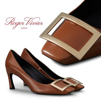 Square Toe Leather Elegant Style Pumps & Mules