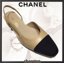 CHANEL TIMELESS CLASSICS Square Toe Blended Fabrics Bi-color Plain Leather