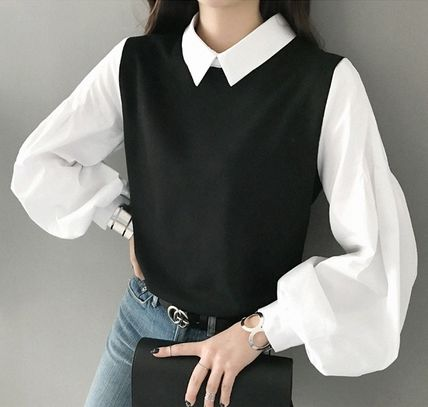 Bi-color Puff Sleeves Shirts & Blouses