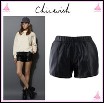 Chicwish Short Casual Style Faux Fur Leather & Faux Leather Shorts