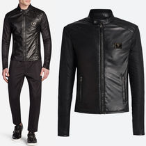 Dolce & Gabbana 17-18 AW DGM 015 SHEEP LEATHER & NYLON BIKER JACKET