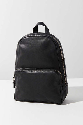 Street Style Plain Leather Elegant Style Backpacks