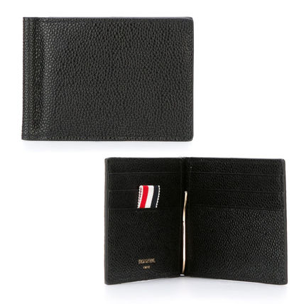 THOM BROWNE Stripes Leather Folding Wallets
