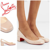 Christian Louboutin Cadrilla  Plain Leather Elegant Style Kitten Heel Pumps & Mules
