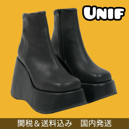UNIF Clothing Platform Casual Style Plain Leather Ankle & Booties Boots