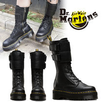 Dr Martens Platform Casual Style Unisex Plain Leather Mid Heel Boots