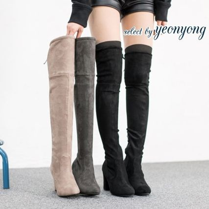 Casual Style Suede Plain Over-the-Knee Boots