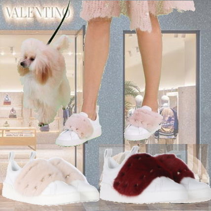 VALENTINO Fur Studded Low-Top Sneakers