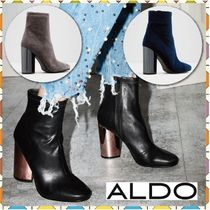 ALDO Round Toe Casual Style Plain Block Heels High Heel Boots