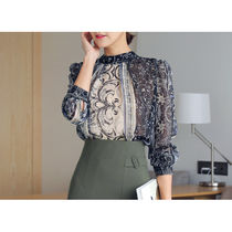 Chiffon Street Style Long Sleeves Medium Office Style