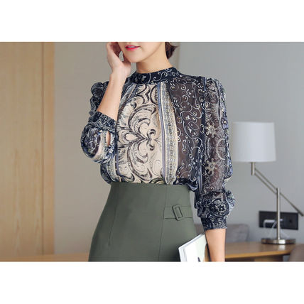 Shirts & Blouses Chiffon Street Style Long Sleeves Medium Office Style