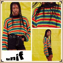 UNIF Clothing Crew Neck Short Stripes Puff Sleeves Cropped