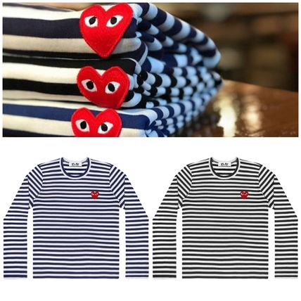 COMME des GARCONS Long Sleeve Heart Unisex Street Style U-Neck Long Sleeves Cotton