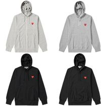 COMME des GARCONS Pullovers Heart Unisex Street Style Long Sleeves Plain