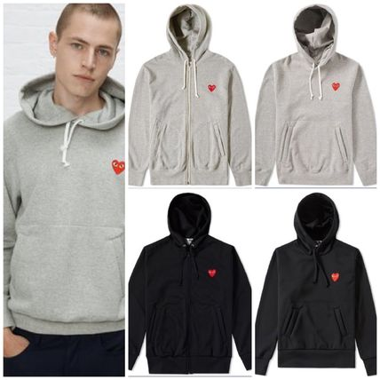 COMME des GARCONS Hoodies Pullovers Heart Unisex Street Style Long Sleeves Plain
