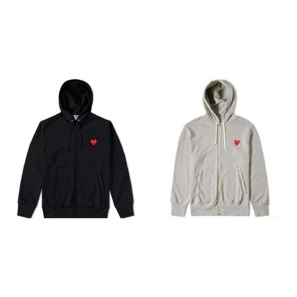 COMME des GARCONS Pullovers Heart Street Style Long Sleeves Plain Hoodies