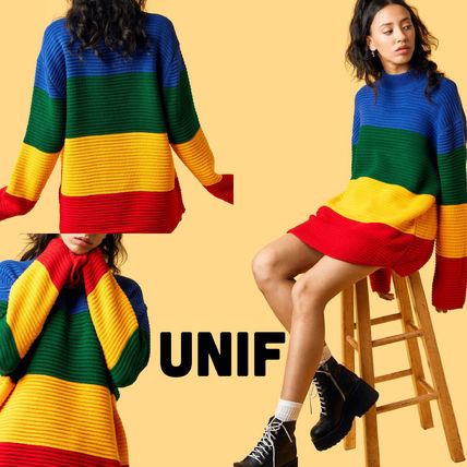 UNIF Clothing Stripes Casual Style Rib Long Sleeves High-Neck Oversized